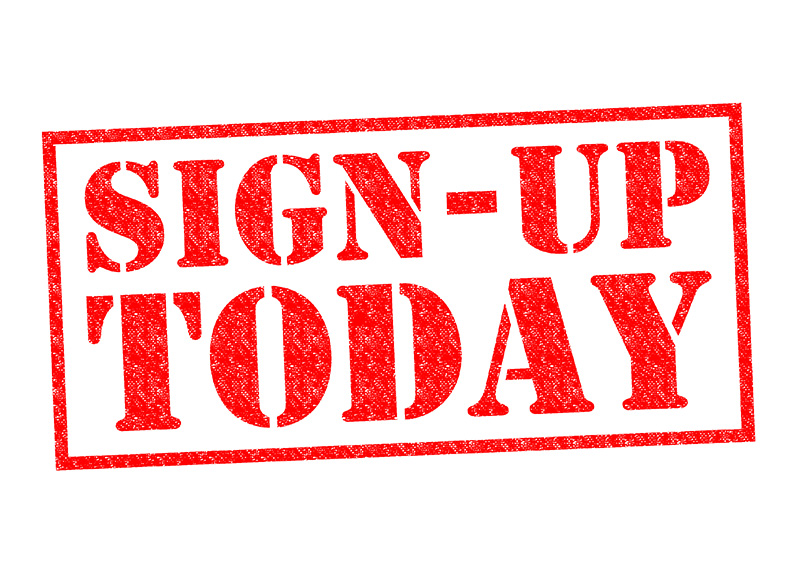 SIGN-UP TODAY red Rubber Stamp over a white background.