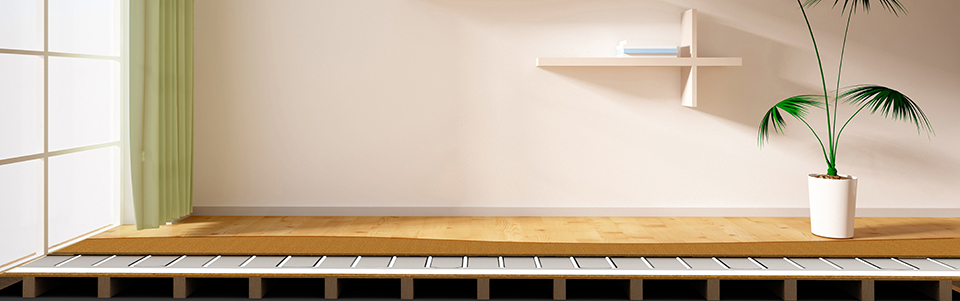 Underfloor heating how it works and protection and example of room with heated floor